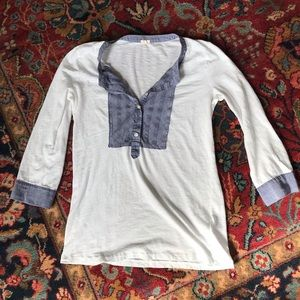 J.Crew top with woven blue cotton inset